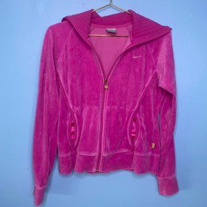 NIKE BRIGHT PINK Y2K VELOUR STYLE ZIP UP SWEATER